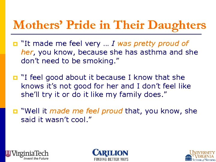 """Mothers' Pride in Their Daughters p """"It made me feel very … I was"""