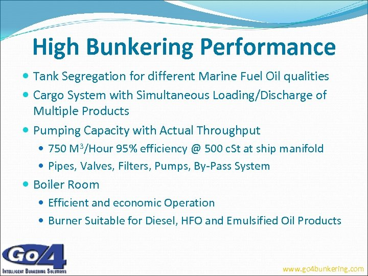 High Bunkering Performance Tank Segregation for different Marine Fuel Oil qualities Cargo System with