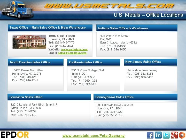 U. S. Metals – Office Locations Texas Office – Main Sales Office & Main