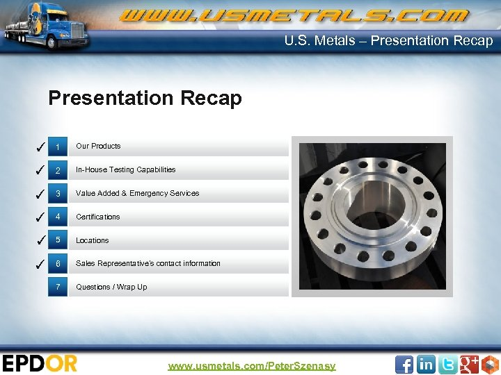 U. S. Metals – Presentation Recap ✓ 1 Our Products ✓ 2 In-House Testing