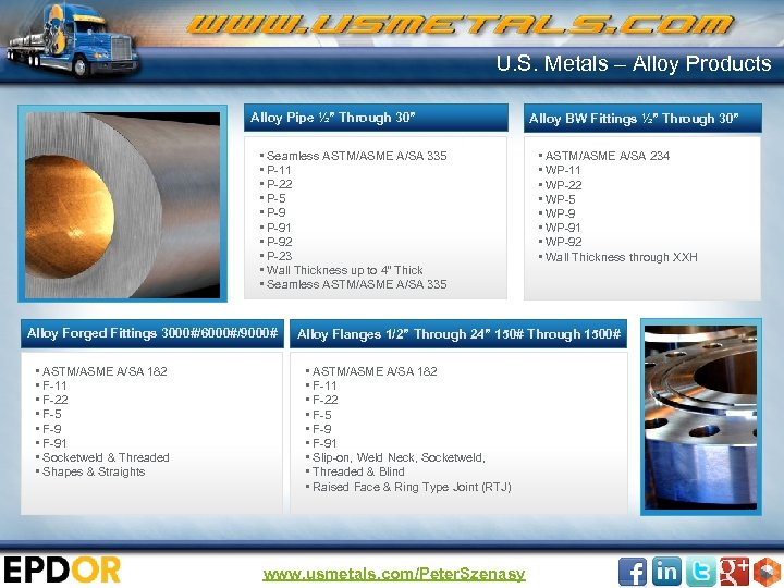 "U. S. Metals – Alloy Products Alloy Pipe ½"" Through 30"" • Seamless ASTM/ASME"