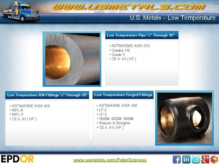 "U. S. Metals – Low Temperature Pipe ½"" Through 30"" • ASTM/ASME A/SA 333"