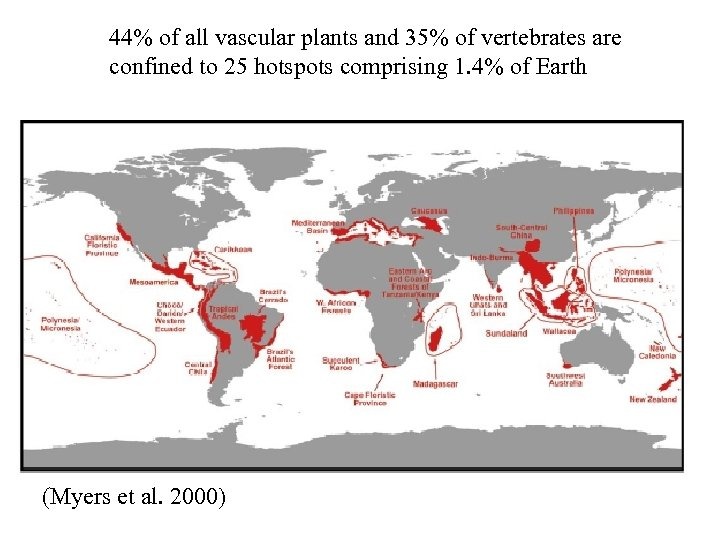 44% of all vascular plants and 35% of vertebrates are confined to 25 hotspots