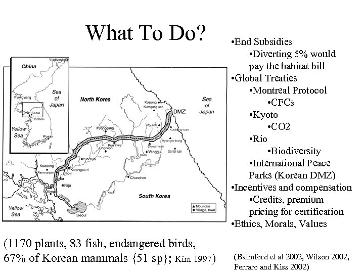 What To Do? (1170 plants, 83 fish, endangered birds, 67% of Korean mammals {51