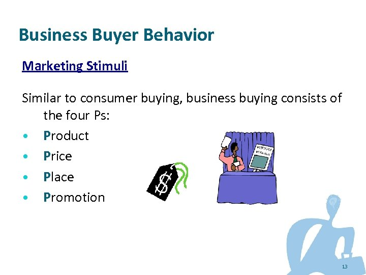 Business Buyer Behavior Marketing Stimuli Similar to consumer buying, business buying consists of the