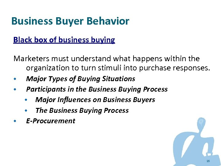 Business Buyer Behavior Black box of business buying Marketers must understand what happens within