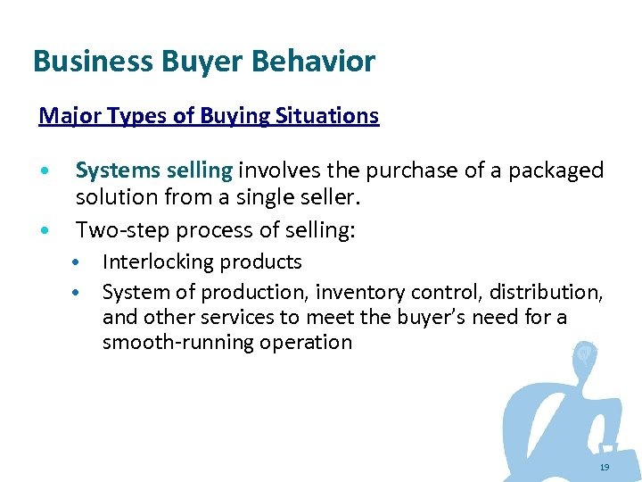 Business Buyer Behavior Major Types of Buying Situations • • Systems selling involves the