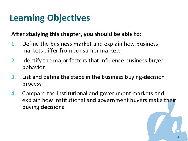 Learning Objectives After studying this chapter, you should be able to: 1. Define the