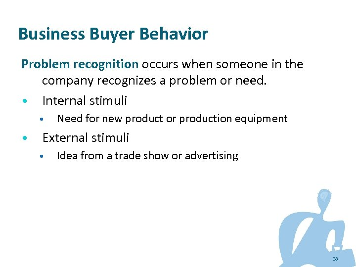 Business Buyer Behavior Problem recognition occurs when someone in the company recognizes a problem