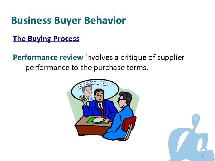Business Buyer Behavior The Buying Process Performance review involves a critique of supplier performance