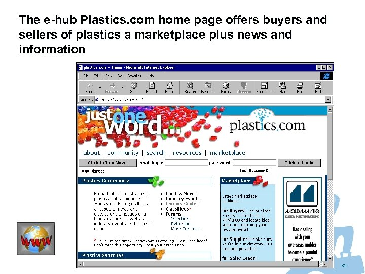 The e-hub Plastics. com home page offers buyers and sellers of plastics a marketplace