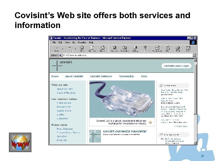 Covisint's Web site offers both services and information 37