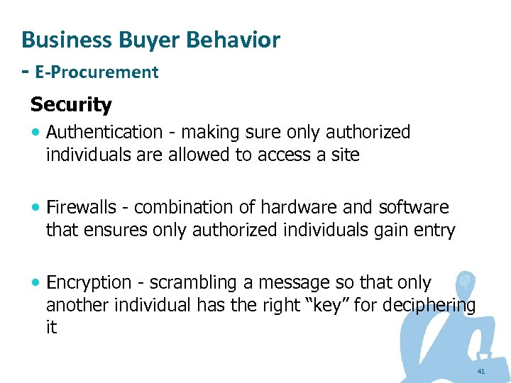 Business Buyer Behavior - E-Procurement Security Authentication - making sure only authorized individuals are