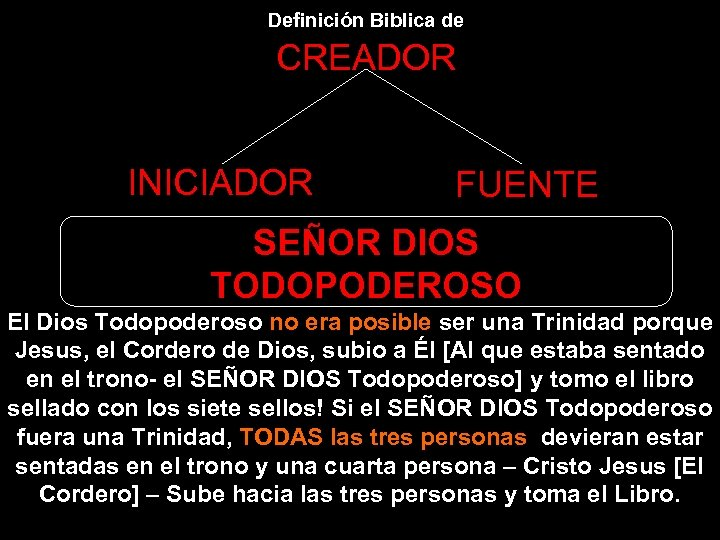 Definición Biblica de CREADOR INICIADOR FUENTE SEÑOR DIOS TODOPODEROSO El Dios Todopoderoso no era
