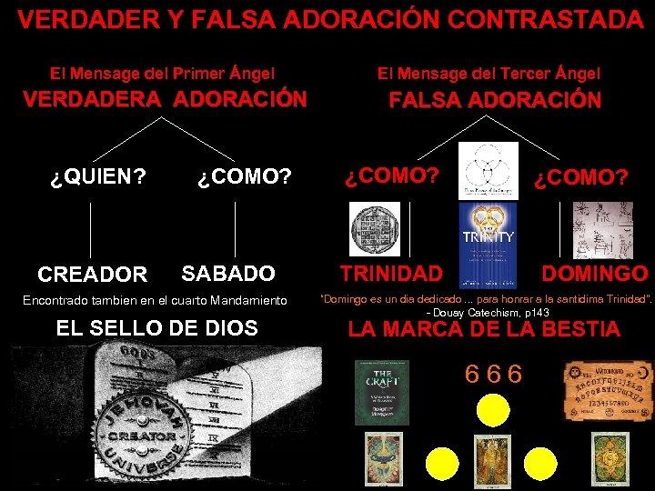 VERDADER Y FALSA ADORACIÓN CONTRASTADA El Mensage del Primer Ángel VERDADERA ADORACIÓN ¿QUIEN? CREADOR