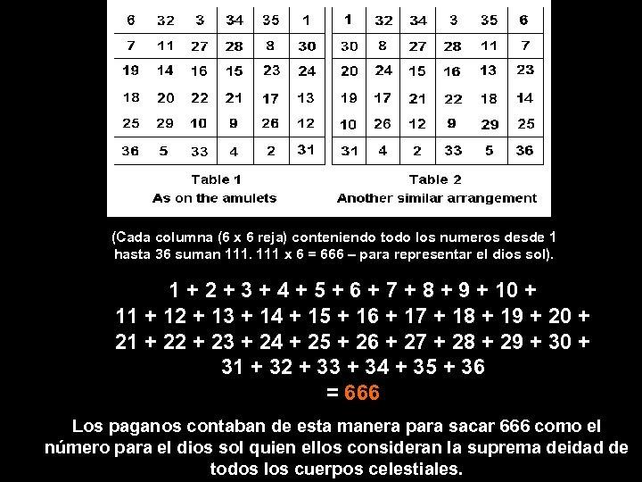 (Cada columna (6 x 6 reja) conteniendo todo los numeros desde 1 hasta 36