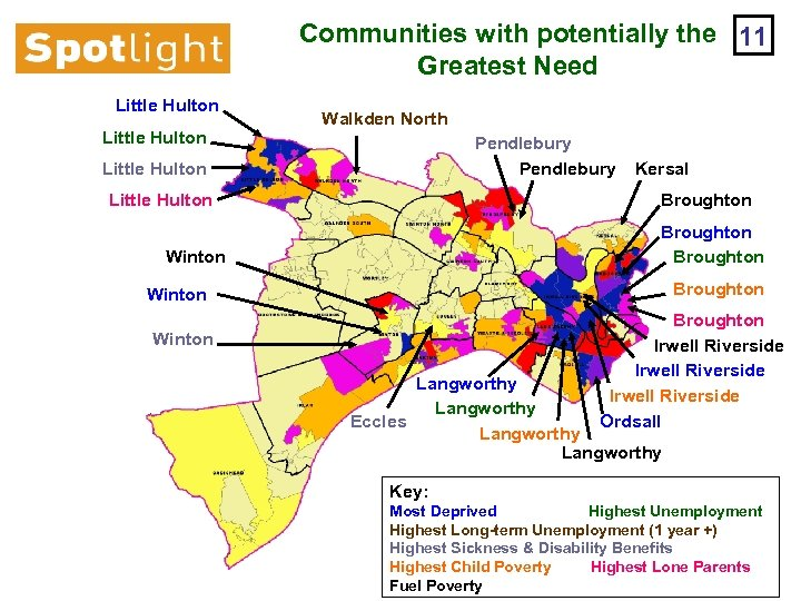Communities with potentially the 11 Greatest Need Little Hulton Walkden North Pendlebury Little Hulton