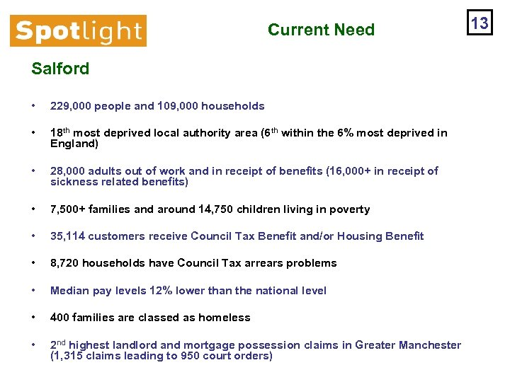 Current Need Salford • 229, 000 people and 109, 000 households • 18 th
