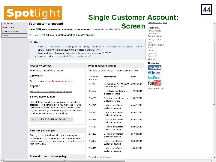 Single Customer Account: Screen 44