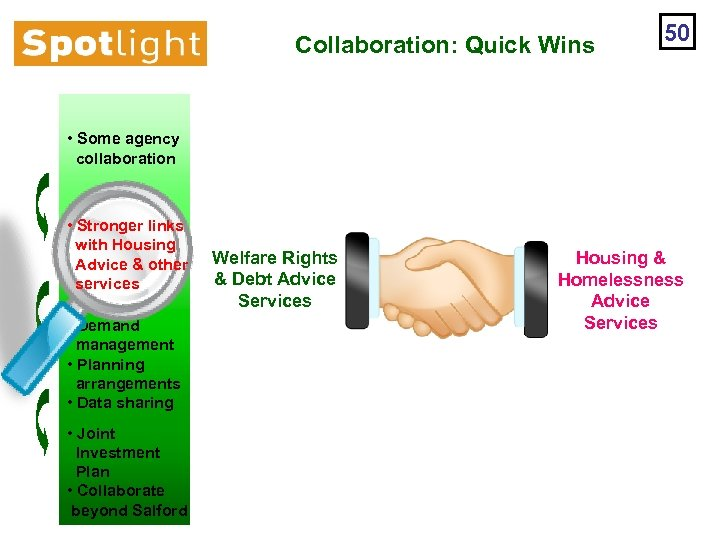 Collaboration: Quick Wins 50 • Some agency collaboration • Stronger links with Housing Advice