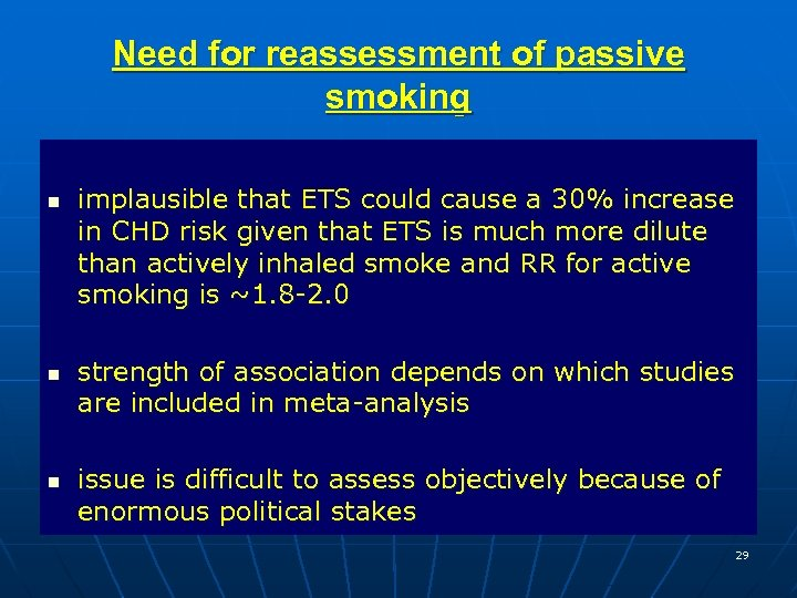 Need for reassessment of passive smoking n n n implausible that ETS could cause