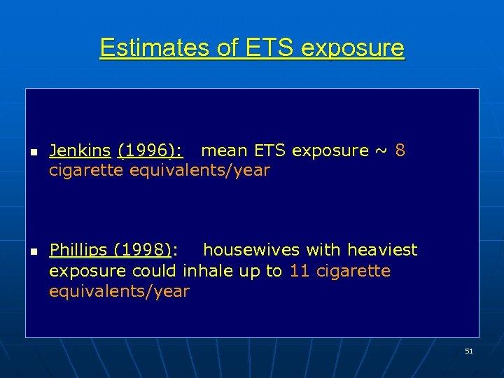 Estimates of ETS exposure n n Jenkins (1996): mean ETS exposure ~ 8 cigarette