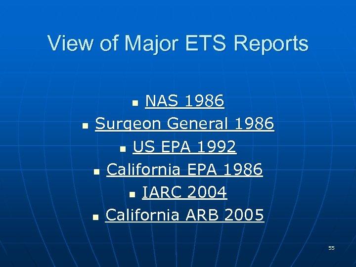 View of Major ETS Reports NAS 1986 n Surgeon General 1986 n US EPA