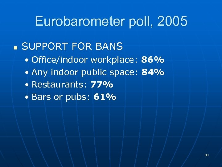 Eurobarometer poll, 2005 n SUPPORT FOR BANS • Office/indoor workplace: 86% • Any indoor