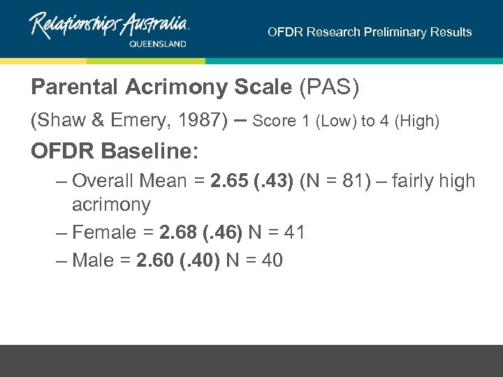 OFDR Research Preliminary Results Parental Acrimony Scale (PAS) (Shaw & Emery, 1987) – Score