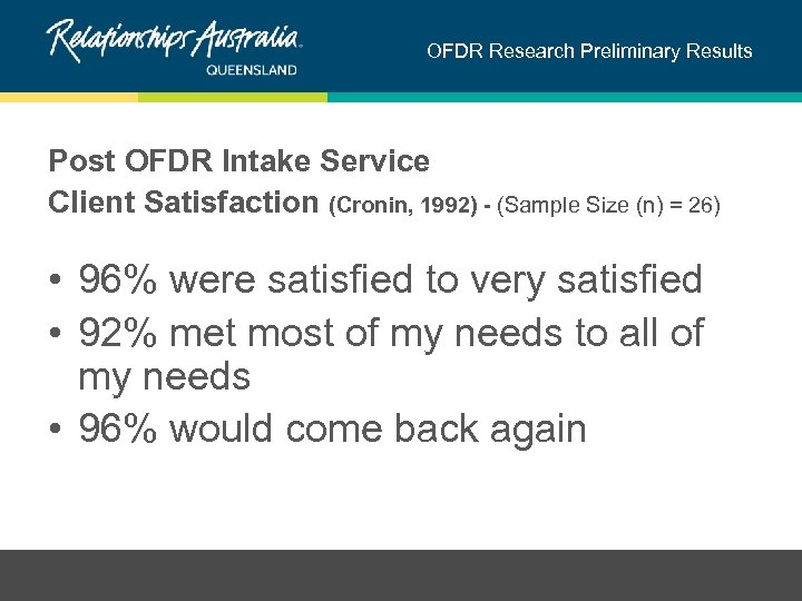 OFDR Research Preliminary Results Post OFDR Intake Service Client Satisfaction (Cronin, 1992) - (Sample