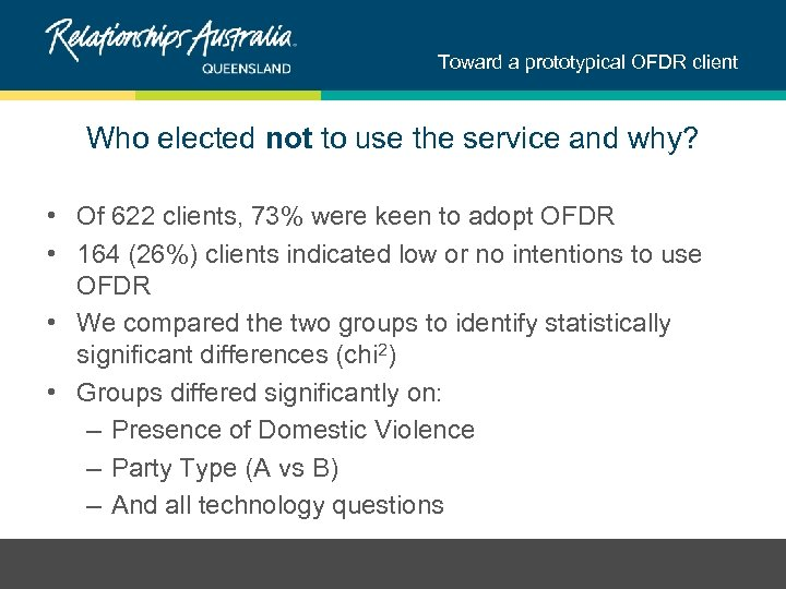Toward a prototypical OFDR client Who elected not to use the service and why?
