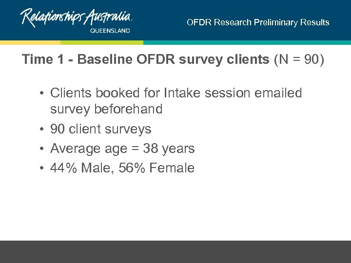 OFDR Research Preliminary Results Time 1 - Baseline OFDR survey clients (N = 90)