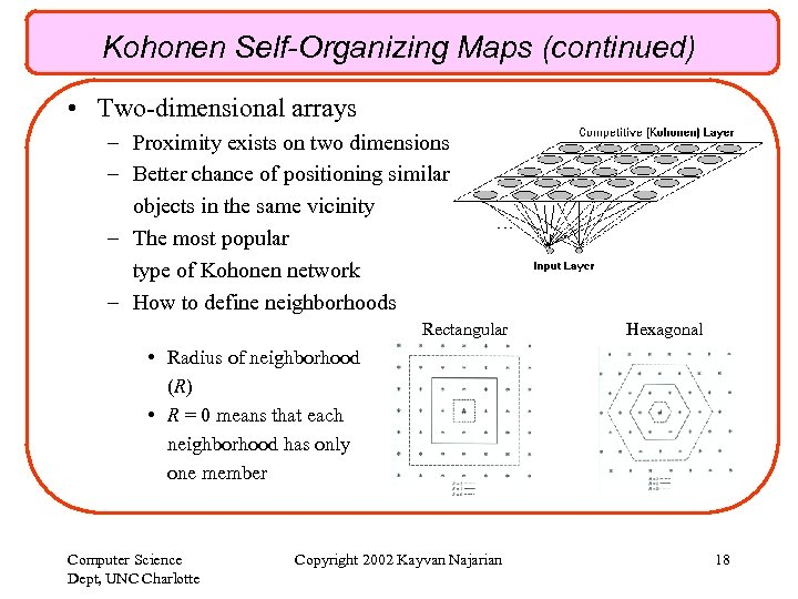 Kohonen Self-Organizing Maps (continued) • Two-dimensional arrays – Proximity exists on two dimensions –