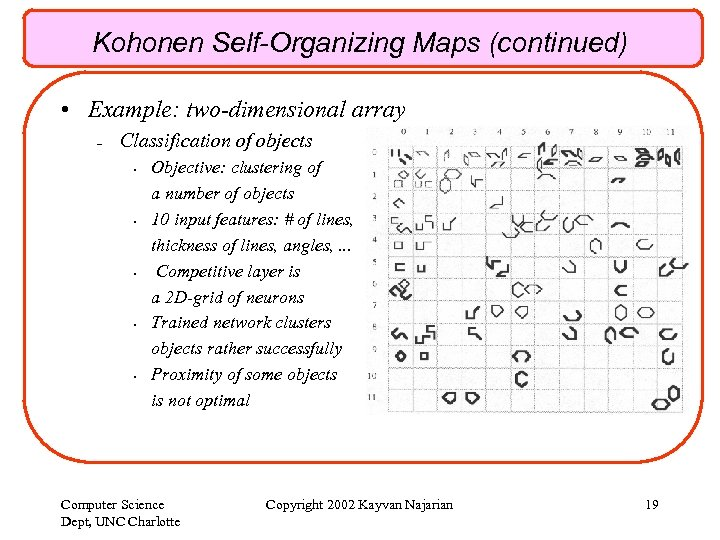 Kohonen Self-Organizing Maps (continued) • Example: two-dimensional array – Classification of objects • •