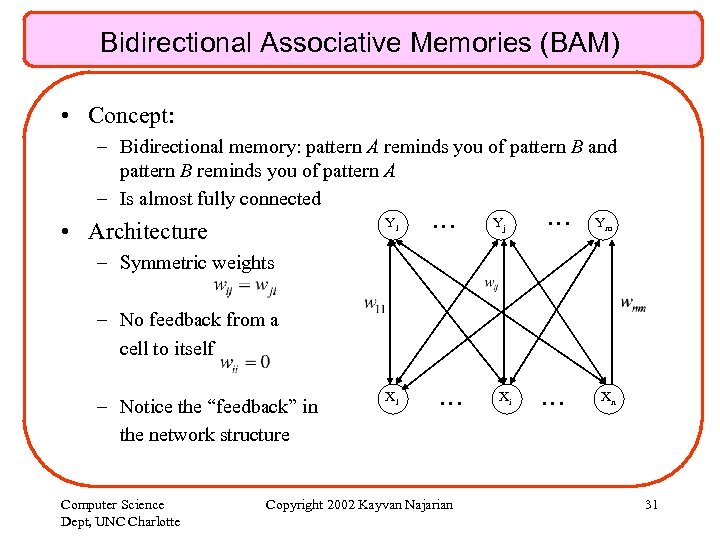Bidirectional Associative Memories (BAM) • Concept: – Bidirectional memory: pattern A reminds you of