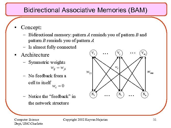 Bidirectional Associative Memories (BAM) • Concept: – Bidirectional memory: pattern A reminds you of
