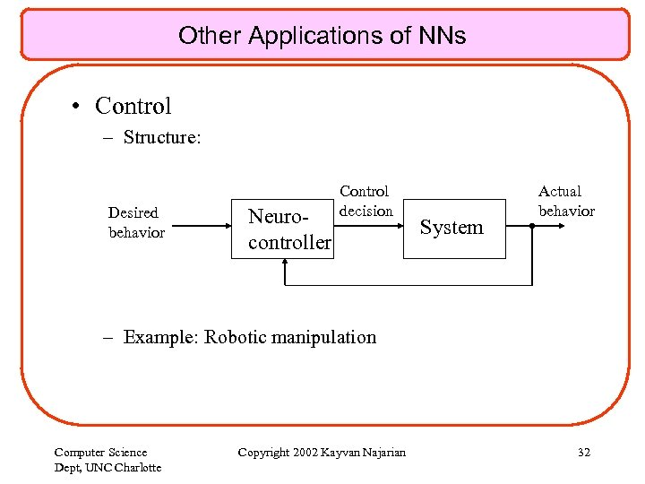 Other Applications of NNs • Control – Structure: Desired behavior Neurocontroller Control decision System