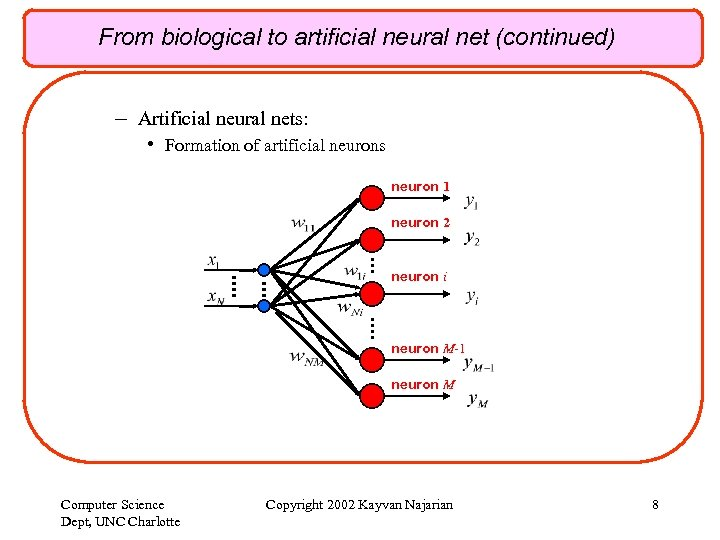 From biological to artificial neural net (continued) – Artificial neural nets: • Formation of