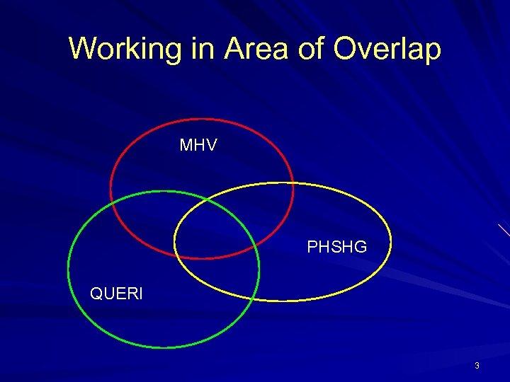 Working in Area of Overlap MHV PHSHG QUERI 3