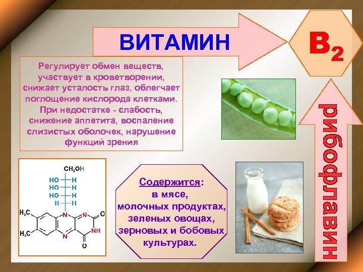 ВИТАМИН Регулирует обмен веществ, участвует в кроветворении, снижает усталость глаз, облегчает поглощение кислорода клетками.