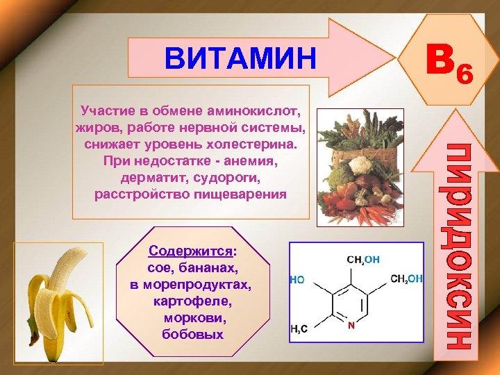 ВИТАМИН Участие в обмене аминокислот, жиров, работе нервной системы, снижает уровень холестерина. При недостатке