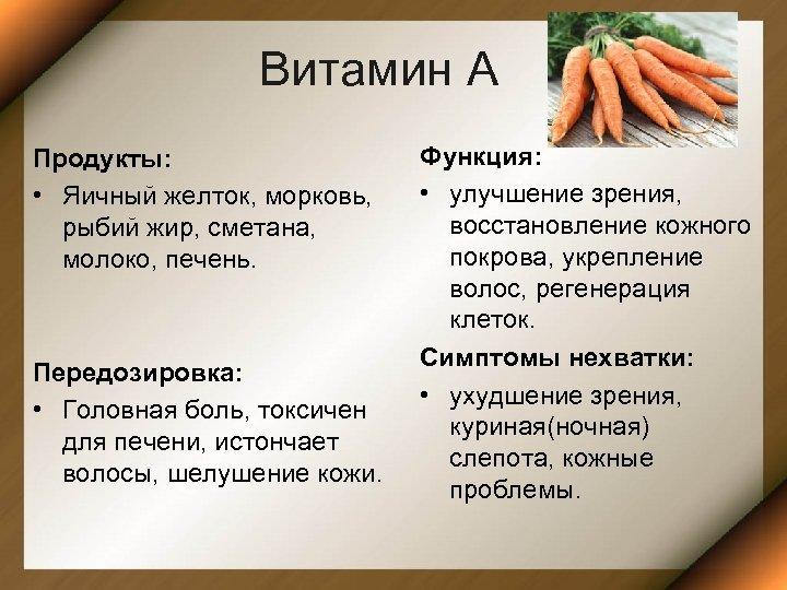 Витамин А Продукты: • Яичный желток, морковь, рыбий жир, сметана, молоко, печень. Передозировка: •