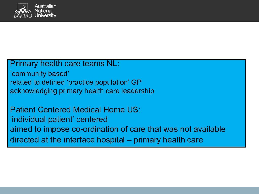 Primary health care teams NL: 'community based' related to defined 'practice population' GP acknowledging