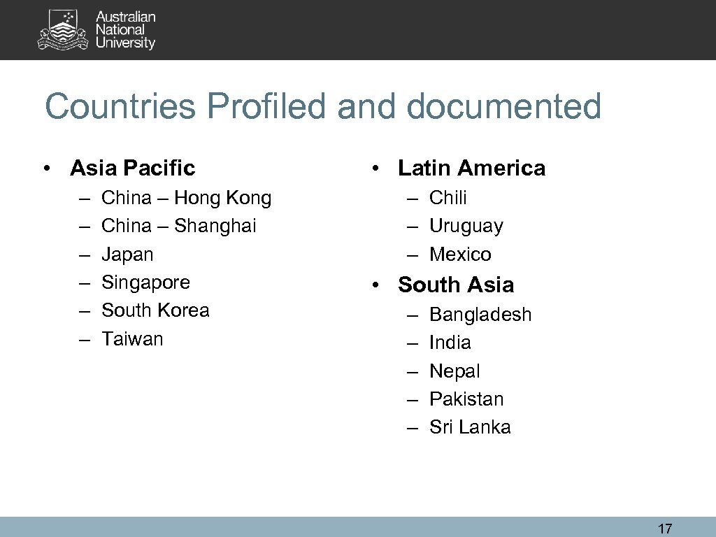 Countries Profiled and documented • Asia Pacific – – – China – Hong Kong