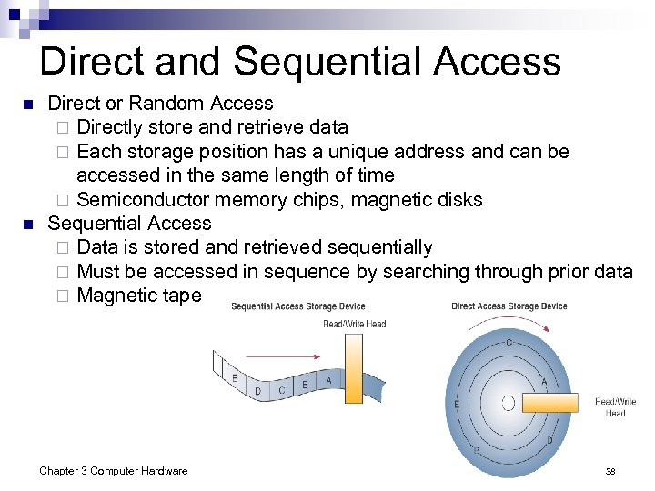Direct and Sequential Access n n Direct or Random Access ¨ Directly store and