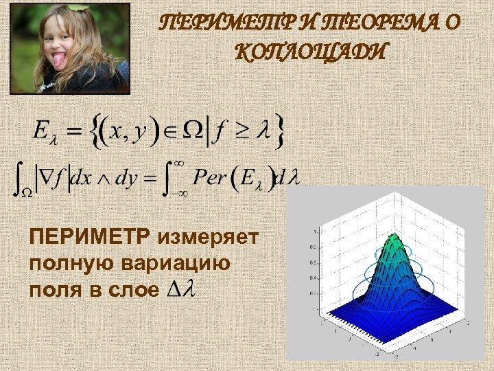 ПЕРИМЕТР И ТЕОРЕМА О КОПЛОЩАДИ ПЕРИМЕТР измеряет полную вариацию поля в слое
