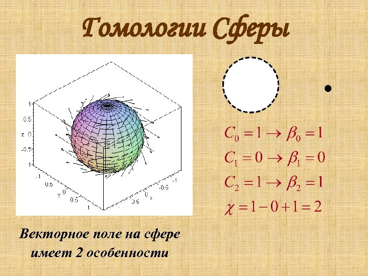 Гомологии Сферы Векторное поле на сфере имеет 2 особенности