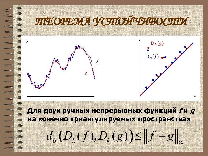ТЕОРЕМА УСТОЙЧИВОСТИ Для двух ручных непрерывных функций f и g на конечно триангулируемых пространствах
