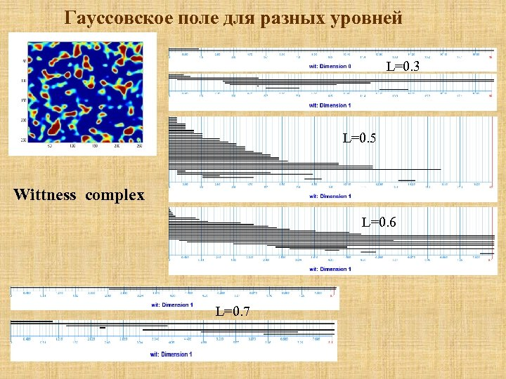 Гауссовское поле для разных уровней L=0. 3 L=0. 5 Wittness complex L=0. 6 L=0.