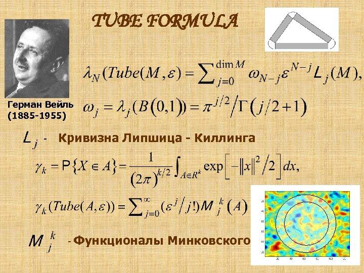 TUBE FORMULA Герман Вейль (1885 -1955) - Кривизна Липшица - Киллинга - Функционалы Минковского